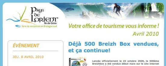 E-mailing de l'office du tourisme de Lorient