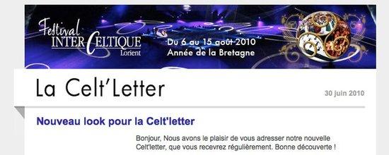 Gestionnaire d'envoi de la Celt'Letter du Festival Interceltique de Lorient