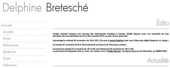 Création du site web de l'artiste Delphine Bretesché