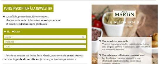 Génération de leads pour la newsletter Jean Martin