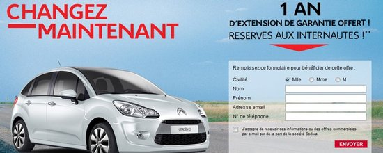 Landing pages pour Citroën Martinique