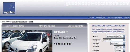 Site de présentation des véhicules d'occasion de SGDM Guadeloupe