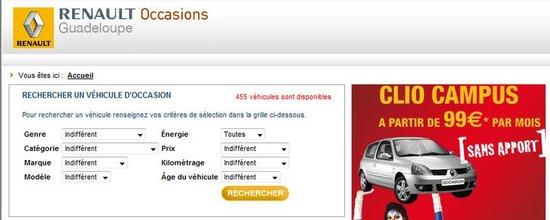 Site de présentation des véhicules d'occasion de Renault Guadeloupe