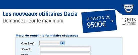 Formulaire de contact utilitaires Dacia Guadeloupe