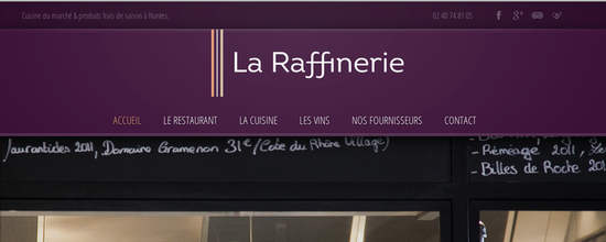 Site internet du restaurant